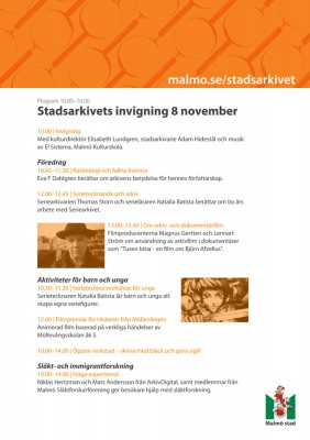 Program Stadsarkivets invigning 8 nov-1