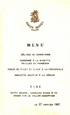 Meny Savoy 1947-R